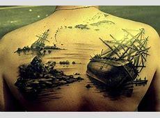 Awesome sunken ships tattoo on whole back Tattooimagesbiz