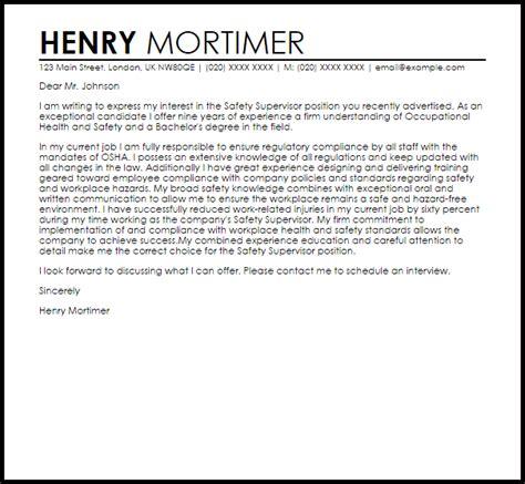 Cover Letter For Site Supervisor by Safety Supervisor Cover Letter Sle Livecareer