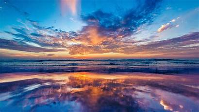 Sunset Ocean Sky Beach Wallpapers Nature 4k