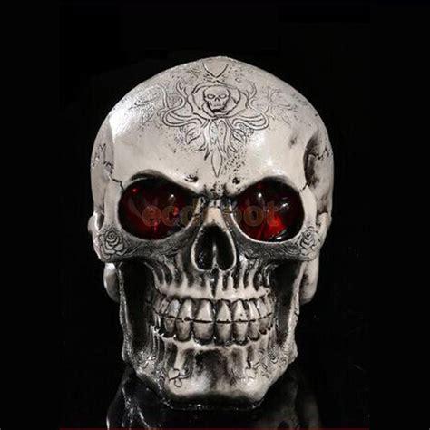 LED Skull Gothic Ornament Figurine Human Skeleton