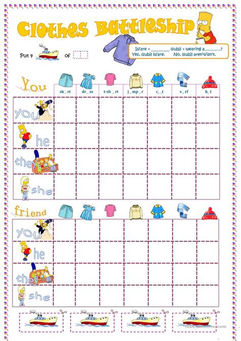 Simpsons Clothes Battleship Worksheet  Free Esl Printable Worksheets Made By Teachers