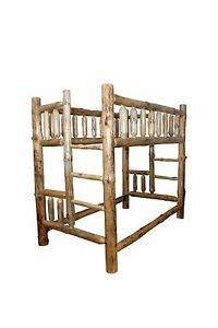 rustic pine log queen  queen complete bunk bed frame amish   usa