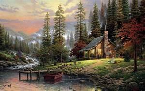Thomas, Kinkade, Nature, Landscape, Painting, Artwork, Trees