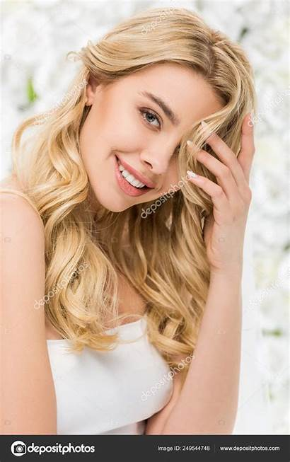 Blonde Hair Smiling Attractive Background Posing Floral