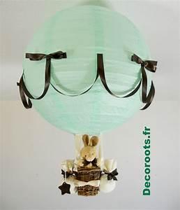 Lustre Montgolfière Bebe : lampe montgolfi re lapin marron chocolat et vert d 39 eau enfant b b luminaire enfant b b ~ Teatrodelosmanantiales.com Idées de Décoration