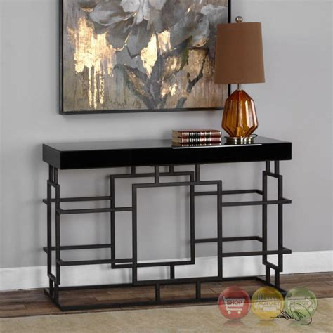 black iron and glass console table andy stylish black console table in geometric iron frame