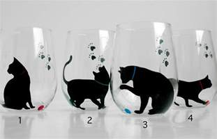 cat wine glasses cat and yarn stemless wine glasses set of 2 painted