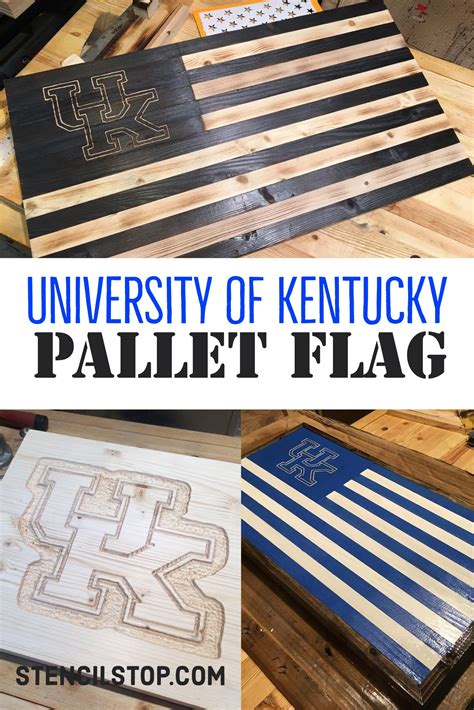 university  kentucky wildcats pallet american flag