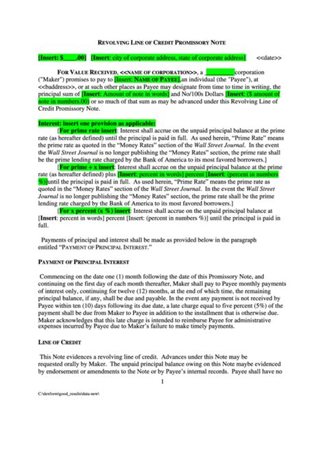 revolving   credit promissory note printable