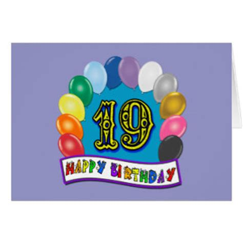 19th birthday card template 19th birthday gifts with assorted balloons design greeting