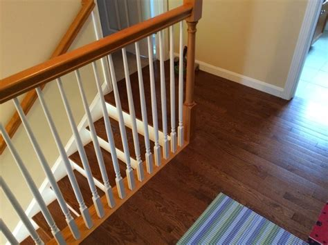 stair stairs design idea with prefinished oak treads combine with brown wood handrail and white