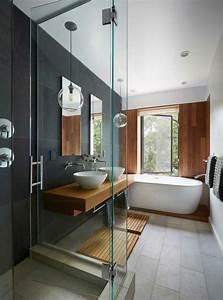Salle De Bain Grise Et Bois : id e d coration salle de bain salle bain douche et bain ~ Melissatoandfro.com Idées de Décoration