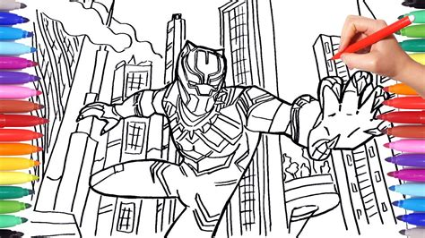 black panther coloring book black panther coloring pages draw and color marvel