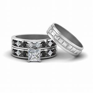 princess cut trio wedding ring sets for him and her with With black wedding rings for him