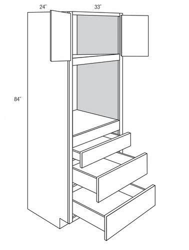 Norwich Recessed 3 Drawer 2 Door Oven Cabinets