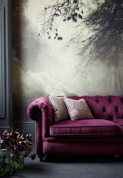 Jewel Tones Interiors Purple Wall Sofa Interior