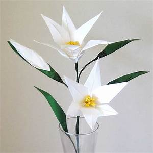 Easter Lily Origami Flower with Flower Bud – Graceincrease