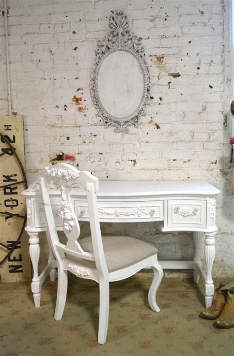 white shabby chic desk painted cottage chic shabby white romantic french