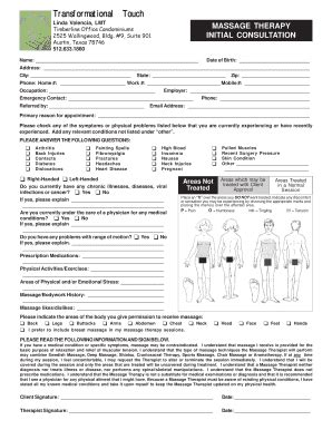 fillable printable massage consultation forms edit