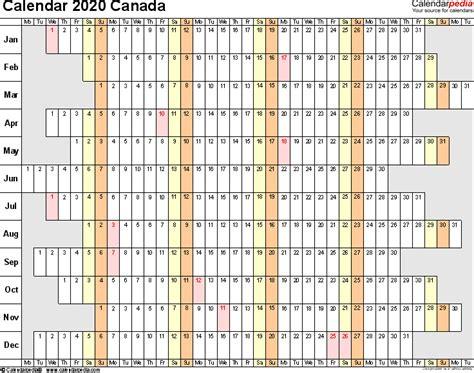 canada calendar word calendar templates