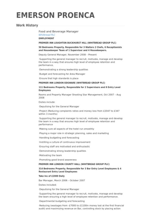 food and beverage manager resume sles visualcv resume