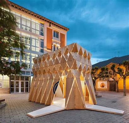 Origami Pavilion Manuel Architecture Wood Archdaily Exhibition