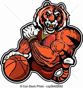 Muscular tiger basketball player mascot for school ...