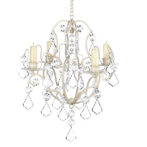 Hanging From The Chandeliers by Ivory Baroque Acrylic Crystals Galore Candle Holder