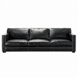 canape 4 5 places en cuir noir dandy maisons du monde With canapé en cuir 4 places