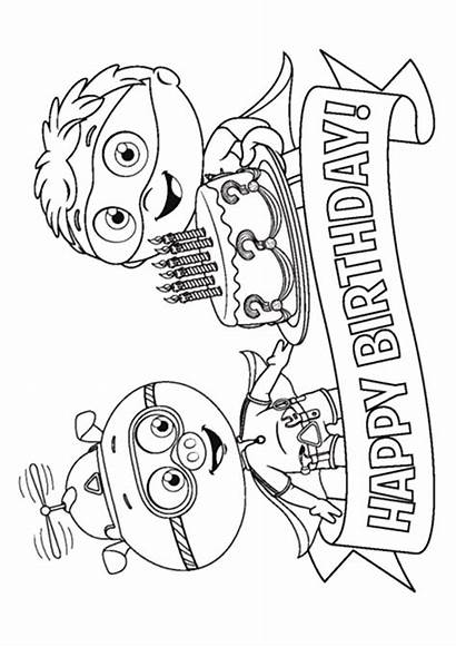 Super Why Birthday Happy Coloring Pages Pig