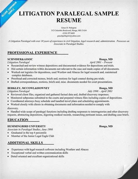 litigation paralegal resume sample resumecompanioncom