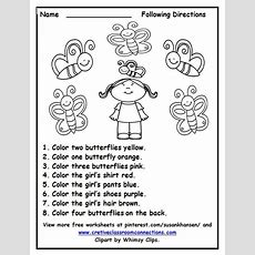 Free Following Directions Worksheet With Color Words Provides A Fun Activity For Students Other
