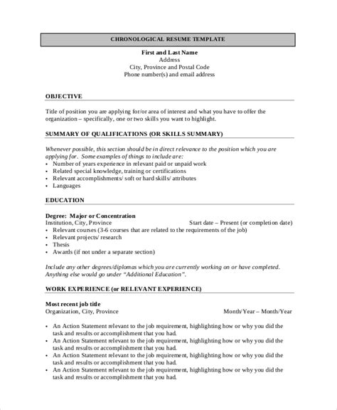 Chronological Resume Objective general resume objective sle 9 exles in pdf