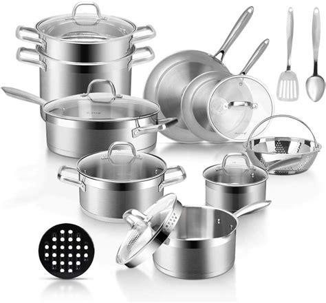 stainless pans steel pots professional cookware induction duxtop saucepan strainer piece bonded lid lids spout impact sartenes technology agarre tookcook