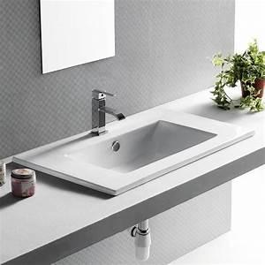 vasque deux robinets mitigeur lavabo salle de bain blanc With salle de bain design avec grande vasque à encastrer