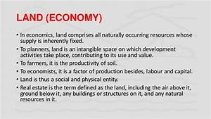 Land In Economics