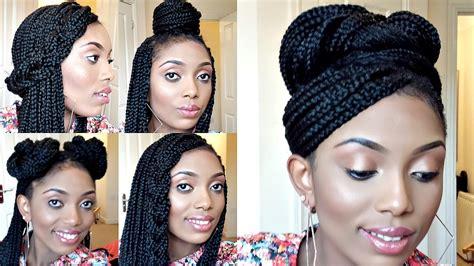 2019 latest box braids updo hairstyles