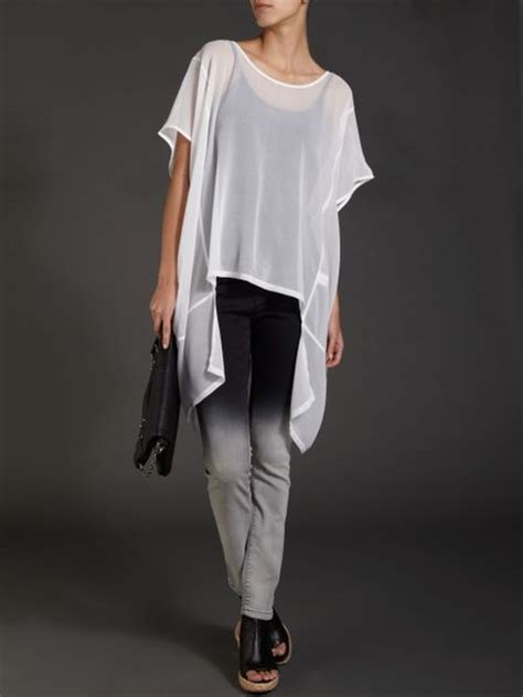 sheer white blouse label lab oversized sheer blouse in white lyst