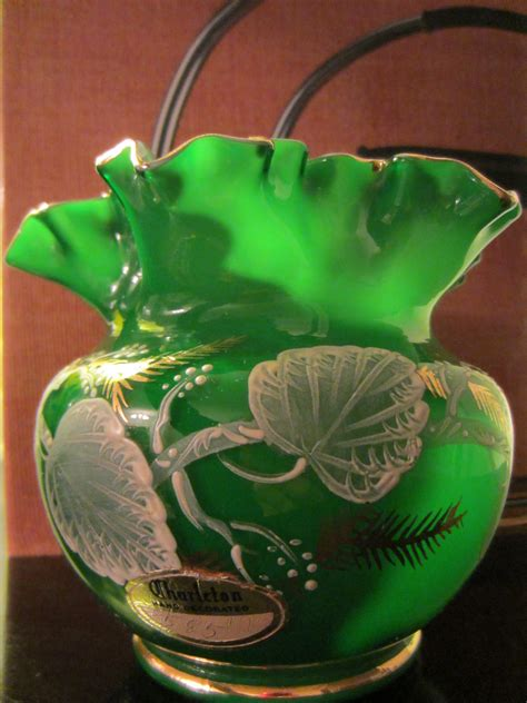 Decorated Vase by Charleton Decorated Green Ruffle Glass Vase For Sale