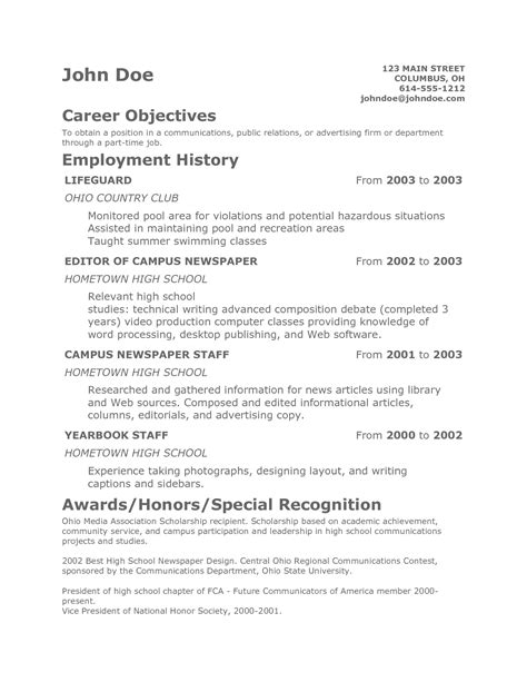 Teenager Resume  Free Excel Templates