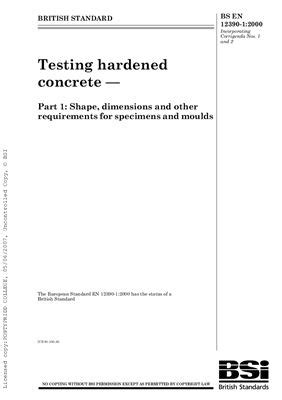 BS EN 12390-1: 2000 Testing hardened concrete - Part 1