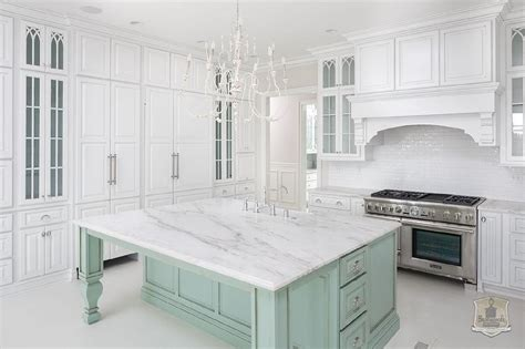 green kitchen island white kitchen with mint green island transitional kitchen