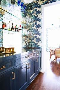 wallpaper + lacquer + brass: Dining Room, Glass Shelves ...
