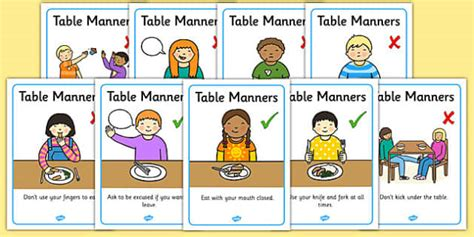 good table manners when you go to eat in a nice western table manners rules display posters table manners rules