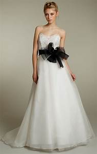 a line wedding dress with black sash sang maestro With wedding dress sash