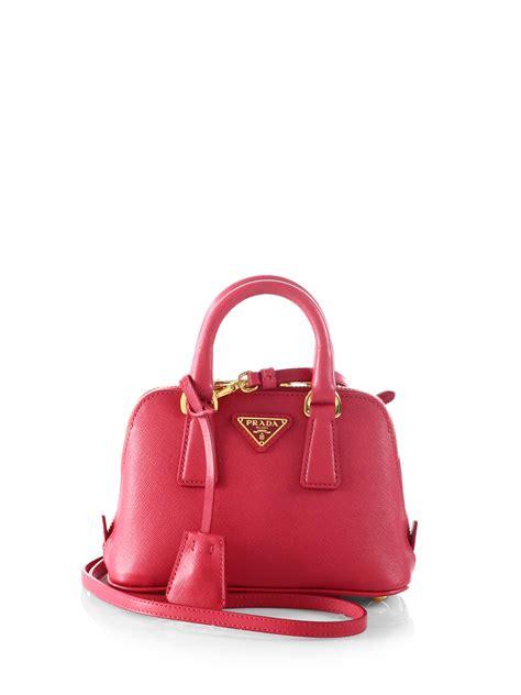 prada saffiano lux double handle mini satchel  pink lyst