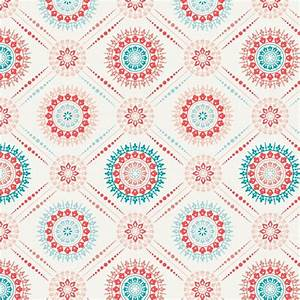 Coral and Teal Modern Medallion Fabric by the Yard | Coral ...