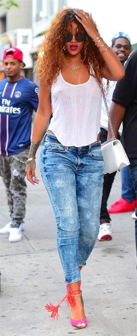 Rihanna denim outfit street style 6 - Fashion Best