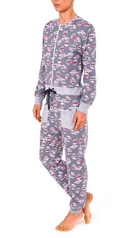 Damen Schlafanzug Einteiler Jumpsuit Overall langarm mit