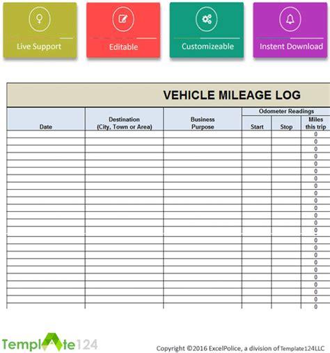 Mileage Log Template Vehicle Mileage Log Template Excel Template124